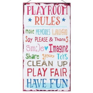 """Metal wall art on a metal wire hanger that reads """"Playroom Rules: Make memories, Laugh, Say please & thanks, Smile, Imagine, Share your toys, Clean up, Play fair, Have fun."""" Measures approximately 7.5"""" x 8.75""""."""