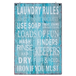 """Distressed metal wall art with a heavy gauge wire hanger, that reads """"Laundry Rules: Empty your pockets, Use soap, Treat stains, Separate colors, Loads of fun, Finders keepers, Wash Rinse and Dry, Fluff & Fold, Iron if you must."""" Measures approximately 7.75"""" x 14""""."""