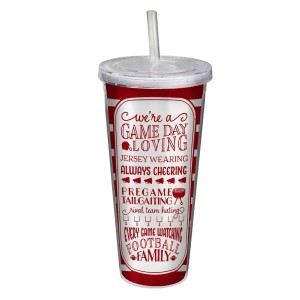 "Game day acrylic sipper cup in crimson and white, that reads ""We're a game day loving, jersey wearing, always cheering, pregame tailgating, rival team hating, every game watching, football family. Double wall insulated, BPA free and holds 22 ounces."