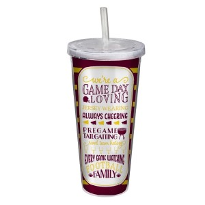 """Game day acrylic sipper cup in maroon and yellow, that reads """"We're a game day loving, jersey wearing, always cheering, pregame tailgating, rival team hating, every game watching, football family. Double wall insulated, BPA free and holds 22 ounces."""