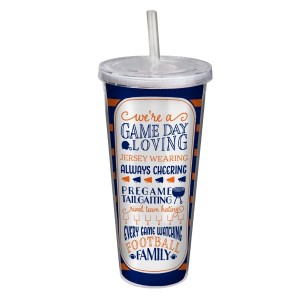 """Game day acrylic sipper cup in navy and orange, that reads """"We're a game day loving, jersey wearing, always cheering, pregame tailgating, rival team hating, every game watching, football family. Double wall insulated, BPA free and holds 22 ounces."""