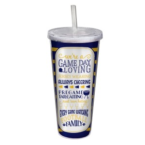 """Game day acrylic sipper cup in navy and yellow, that reads """"We're a game day loving, jersey wearing, always cheering, pregame tailgating, rival team hating, every game watching, football family. Double wall insulated, BPA free and holds 22 ounces."""