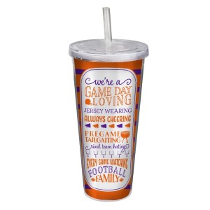 """Game day acrylic sipper cup in purple and orange, that reads """"We're a game day loving, jersey wearing, always cheering, pregame tailgating, rival team hating, every game watching, football family. Double wall insulated, BPA free and holds 22 ounces."""