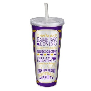 """Game day acrylic sipper cup in purple and yellow, that reads """"We're a game day loving, jersey wearing, always cheering, pregame tailgating, rival team hating, every game watching, football family. Double wall insulated, BPA free and holds 22 ounces."""