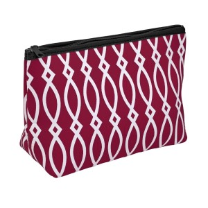 """Small neoprene zipper pouch with a maroon and black print. Perfect for monogramming! Measures approximately 10.5"""" x 7"""" x 3"""" in size."""