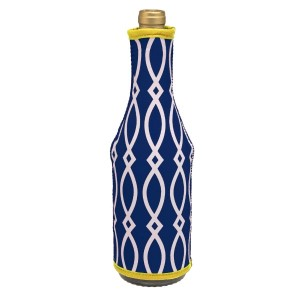 Insulated, neoprene, wine hugger with a navy blue and yellow print. Perfect for monogramming and is machine washable.