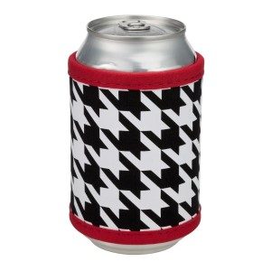 "Neoprene velcro, houndstooth drink hugger that fits bottle, cans, and flasks. Perfect for monogramming! Measures approximately 4"" x 9"" in size."