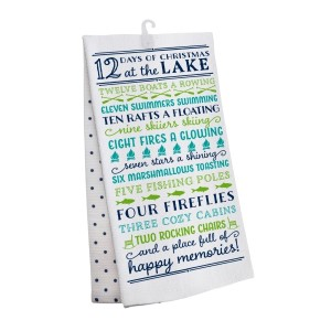 """""""12 Days of Christmas at the Lake"""" tea towel, measures 25"""" x 19"""" when open and is 100% cotton. All artwork and lyrics are copyrighted."""