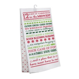 """""""12 Days of Christmas in the Midwest"""" tea towel, measures 25"""" x 19"""" when open and is 100% cotton. All artwork and lyrics are copyrighted."""