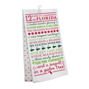 """""""12 Days of Christmas in Florida"""" tea towel, measures 25"""" x 19"""" when open and is 100% cotton. All artwork and lyrics are copyrighted."""