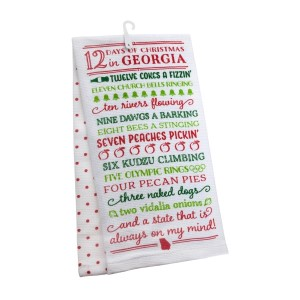 """""""12 Days of Christmas in Georgia"""" tea towel, measures 25"""" x 19"""" when open and is 100% cotton. All artwork and lyrics are copyrighted."""