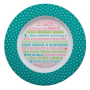 """Melamine """"12 Days of Christmas at the Beach"""" platter is dishwasher and microwave safe. Measures 14"""" in diameter. All artwork and lyrics are copyrighted."""