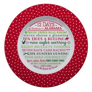 """Melamine """"12 Days of Christmas in Alabama"""" platter is dishwasher and microwave safe. Measures 14"""" in diameter. All artwork and lyrics are copyrighted."""
