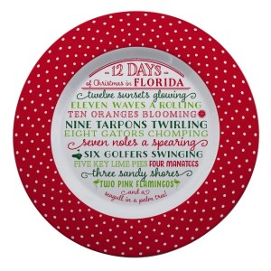 """Melamine """"12 Days of Christmas in Florida"""" platter is dishwasher and microwave safe. Measures 14"""" in diameter. All artwork and lyrics are copyrighted."""