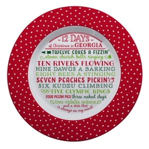 """Melamine """"12 Days of Christmas in Georgia"""" platter is dishwasher and microwave safe. Measures 14"""" in diameter. All artwork and lyrics are copyrighted."""