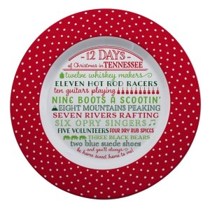 """Melamine """"12 Days of Christmas in Tennessee"""" platter is dishwasher and microwave safe. Measures 14"""" in diameter. All artwork and lyrics are copyrighted."""