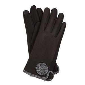 Black 'smart gloves' with houndstooth trim.