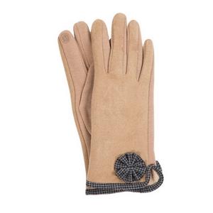 Beige 'smart gloves' with houndstooth trim.