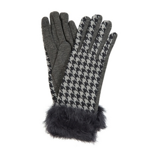 Black and gray houndstooth printed 'touch gloves' with black faux fur.