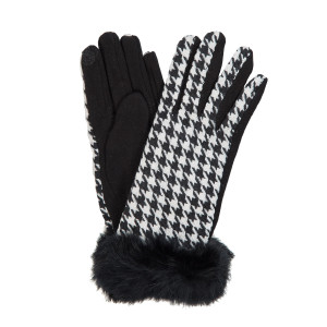Black and white houndstooth printed 'touch gloves' with black faux fur.