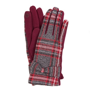 Gray and burgundy plaid 'smart gloves' with a bow accent.