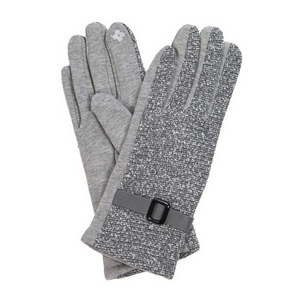 Gray 'touch gloves' with a tweed pattern and a faux leather buckle.