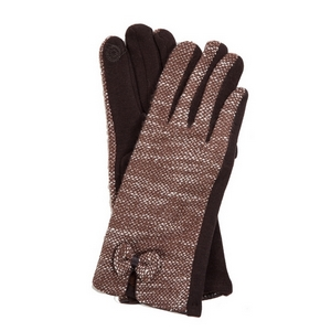 Brown 'touch gloves' with a tweed pattern and bow accent.