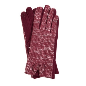 Burgundy 'touch gloves' with a tweed pattern and bow accent.