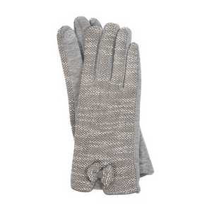 Gray 'touch gloves' with a tweed pattern and bow accent.