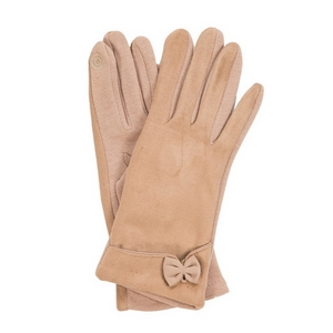 Beige faux suede 'smart gloves' with a bow accent.