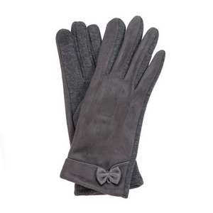 Gray faux suede 'smart gloves' with a bow accent.