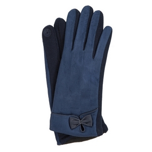 Navy blue faux suede 'smart gloves' with a bow accent.