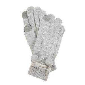 Gray pair of knit gloves with a pom pom tie.