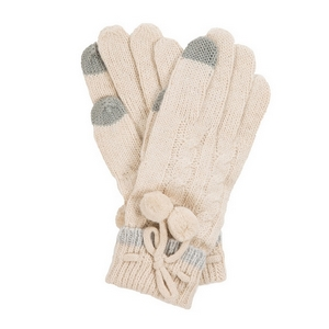 Ivory pair of knit gloves with a pom pom tie.