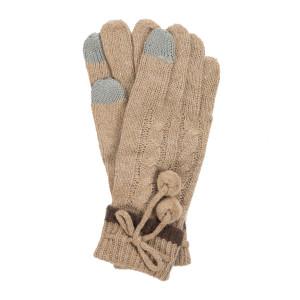 Beige pair of knit gloves with a pom pom tie.