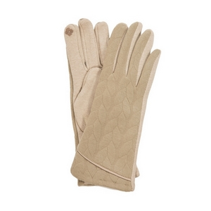 Beige touch gloves with a cable knit pattern. One size.