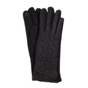 Black touch gloves with a cable knit pattern. One size.