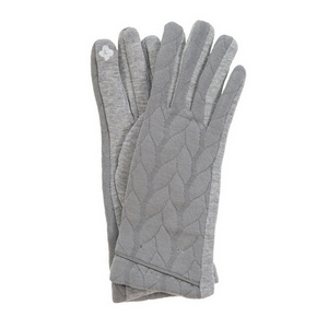 Gray touch gloves with a cable knit pattern. One size.