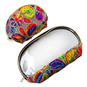 """Set of two zipper bags that can be used for makeup, travel, or at the beach, with an embroidered paisley print. Large bag is 9"""" x 6"""" in size and small bag measures 6"""" x 4"""" in size."""