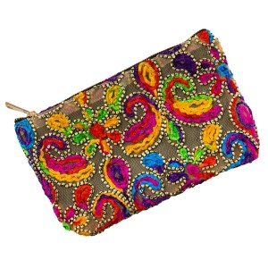 "Mesh pouch with a top zipper closure and a bright, multicolored, paisley embroidered pattern. Measures 9.5"" x 6"" in size."