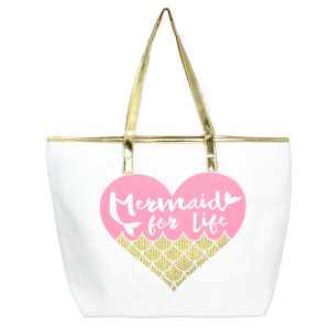 "White, ""Mermaid for Life"" tote bag with faux leather handles and a top zipper closure. Woven raffia body. Measures 20"" x 14"" in size."