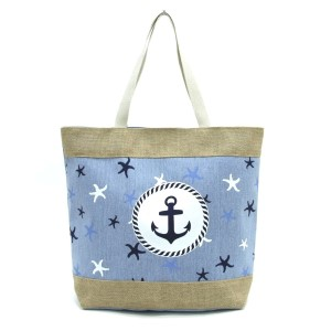 "Anchor and starfish printed tote bag with a fully lined interior, magnetic closure, and inside pocket. Measures 20"" x 15"" in size with a 10"" shoulder drop. 55% cotton, 15% polyester, and 30% jute."