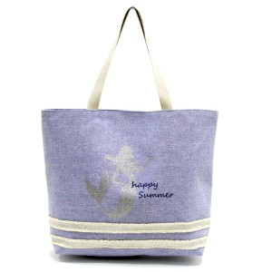 "Glitter mermaid printed tote bag with a fully lined interior, magnetic closure, and inside pocket. Measures 20"" x 15"" in size with a 10"" shoulder drop. 55% cotton and 45% polyester."