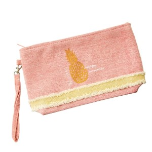 "Canvas zipper pouch with a glitter pineapple, a top zip closure, a line inside, and a wrist strap. 55% cotton and 45% polyester. Measures 10"" x 6"" in size."