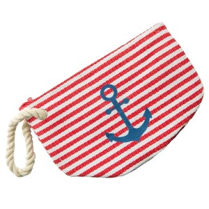 "Striped anchor travel pouch with detachable rope wristlet.  - Open lined inside  - Zipper closure - Detachable rope wristlet - Approximately 10"" W x 8"" T - 95% Paper Straw, 5% Cotton"