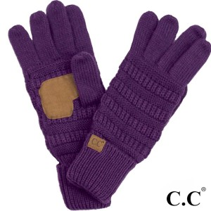 C.C G-20 Solid Ribbed Smart Touch Gloves.  - Touchscreen Compatible - One size fits most  - 100% Acrylic