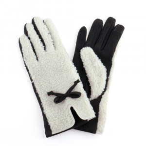 Two tone gloves with faux sherpa.   One size fits most.