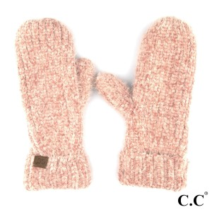 C.C G-1925 Chenille mitten glove with fuzzy lining  - 70% Polyester, 30% Nylon  - One size fits most