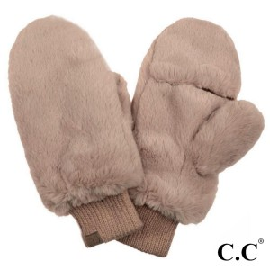 C.C MT-715 Faux Fur Pop Top Mittens  - 100% Polyester - One size fits most