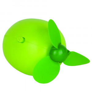 """Adorable mini lime fan. One high speed. Usb charging, internal battery, portable. Approximate 4"""" in length."""
